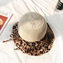 Хлопок Леопард Лук Панама для рыбака шляпа уличная дорожная шляпа шляпы от солнца для женщин 32