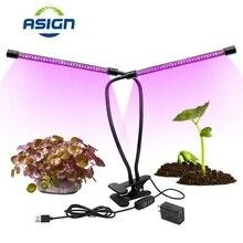 Затемнения 20 Вт светодиодный свет для выращивания красного и синего цвета двойная труба для роста растений лампа для внутреннего парник, теплица для выращивания растений цветочный переходник для выращивания