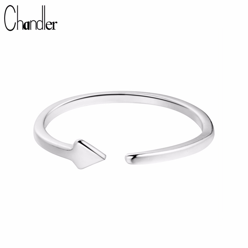Chandler Hot Sale 925 Sterling Silver Fashion Lady Triangle Rings Simple Gift Geometry Opening Bague Finger Toe Casual Bijoux