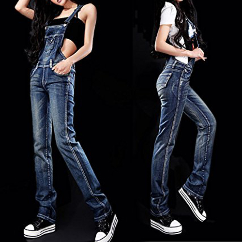 Cinta Macacão Jeans Suspender Jumpsuit das mulheres S