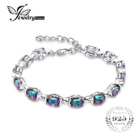 15ct Concave Oval Hot Sale Genuine Mystical Rainbow Topaz Bracelet Oval Cut Solid 925 Sterling Silver