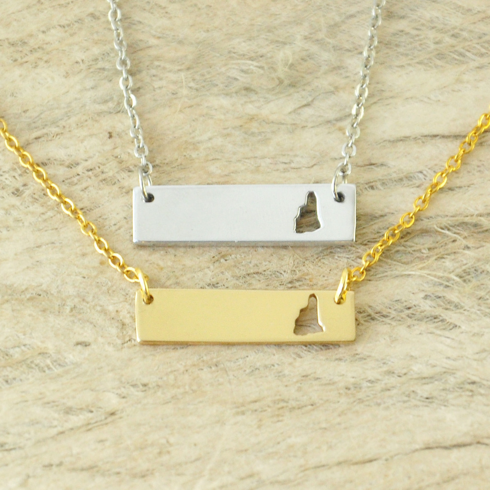 New Hampshire Bar Necklace Cut Out Map Necklace Alloy State Necklace Map Charm Custom Map State Pride Bar Necklace