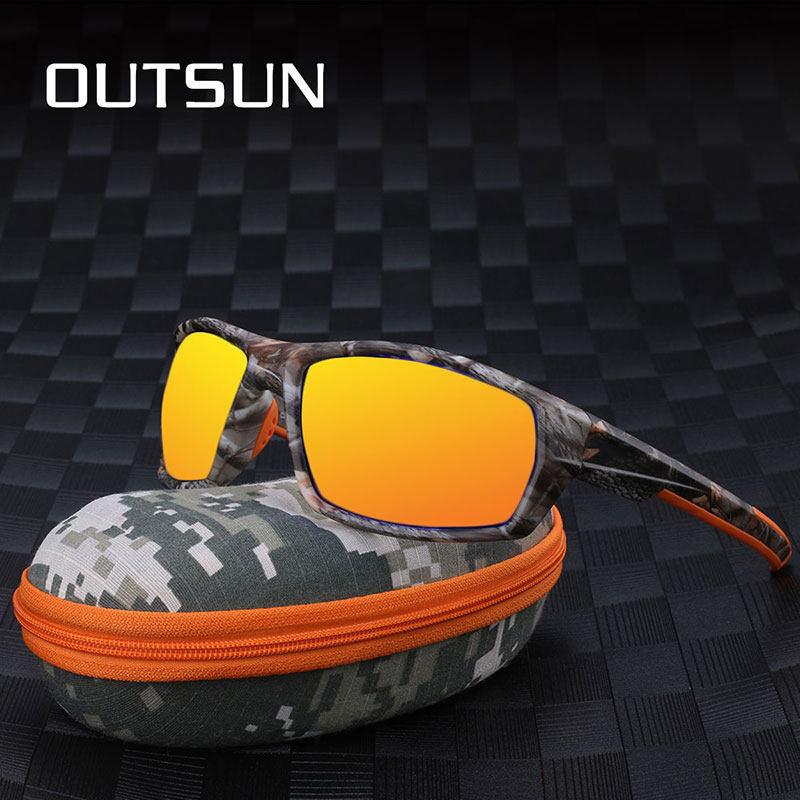 43892b2cc7 OUTSUN 2019 New Camouflage Sunglasses Men Women Polarized UV400 Coating  Lens Black Camo Frame For Fishing