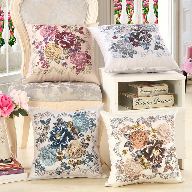 Decorative Cushion Cover 45x45cm Pastoral Flower Printed Sofa Throw Pillow Case Covers Cheap Home Christmas Gifts