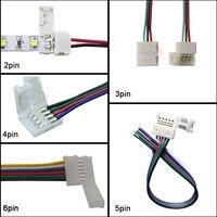 Cable de conector led para tira de luces LED, conector de 2 pines, 3 pines, 4 pines, 5 pines, 6 pines, para WS2811, WS2812B, 100 RGB, RGBW, 5-5050 Uds.
