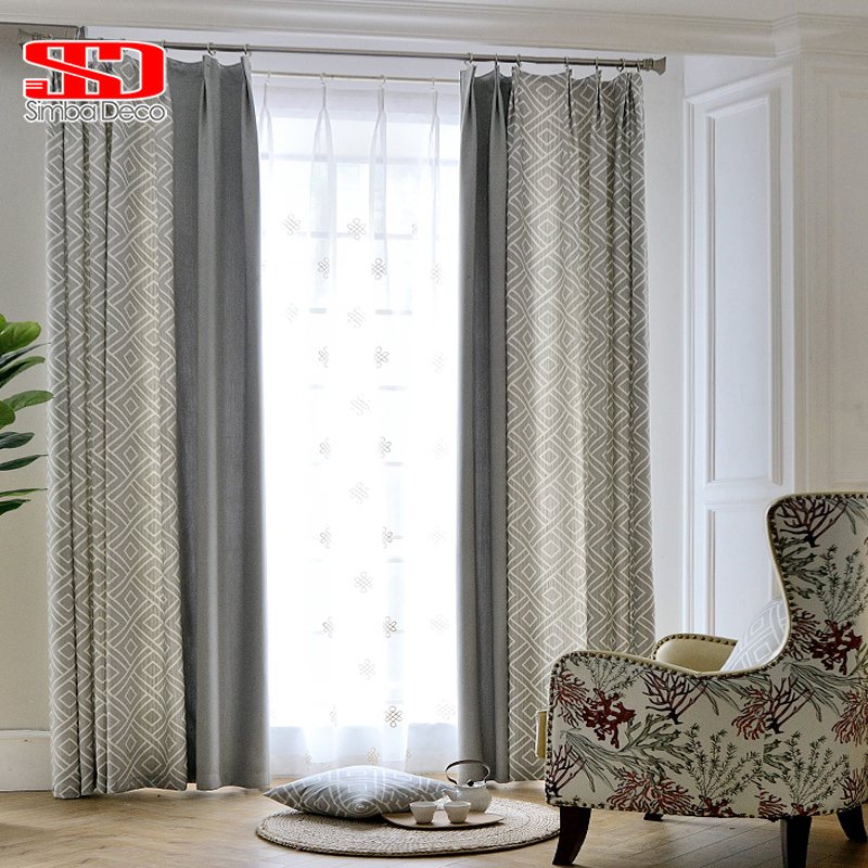 Modern Geometric Grey Jacquard Curtains For Living Room Bedroom Luxury Blinds Drapes Window Panels Shading 70