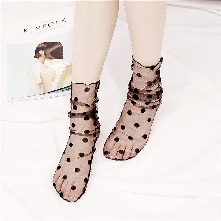 Women's Harajuku black Glitter Stars snow Socks.Lady Transparent Mesh Shiny Stars Fishnet Socks Hosiery Sox