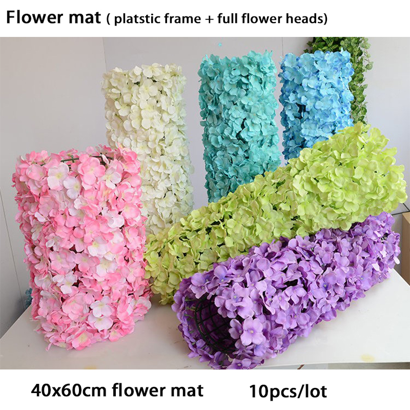 10pcs lot flower mat artificial flower heads and hydrangea flower wall for wedding backdrop decoration 40x60cm