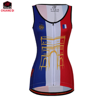 ZM French Female Vest National Flag Clothes Running Shirt Mesh Fabric Bike MTB Road Breathable Sportswear Top Riding Vest