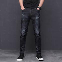Мужские джинсы весна и лето новые простые сто моды небольшой прямой ноги эластичные похудения длинные пластины прилив мужские брюки