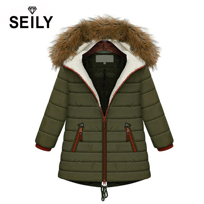 Seily 2017 New Korean Plus Size Women Winter Middle Long Thick Cotton Padded Jacket Warm Coat With Faux Lamb Wool Fur Hood Parka 2016 new mori girl national trend loose plus size with a hood denim autumn and winter women medium long plus cotton thick vest