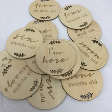 Engraved wooden monthly milestone plaques set of 15 pcs