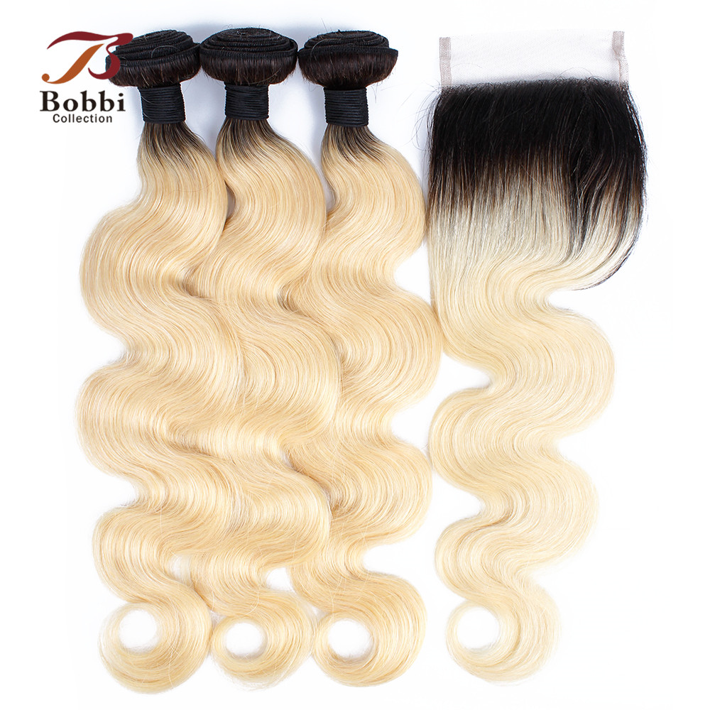 BOBBI COLLECTION Ombre T 1B 613 Bundles With Closure Dark Root Platinum Blonde Brazilian Body Wave