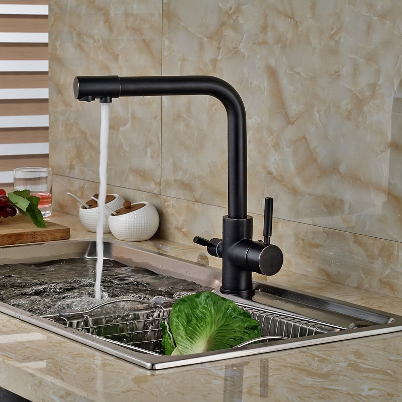 Oil-Rubbed-Bronze-Kitchen-Faucet-Hot-Cold-Mixer-Tap-W-Pure-Water-Spout-Dual-Handles (4)