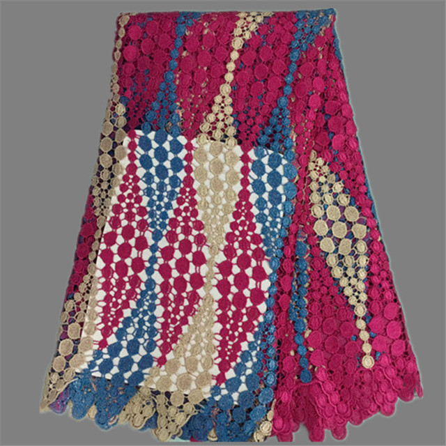 Hot selling fuchsia+blue+beige guipure lace farbic African chemical water soluble lace material for wedding dress EW1-2