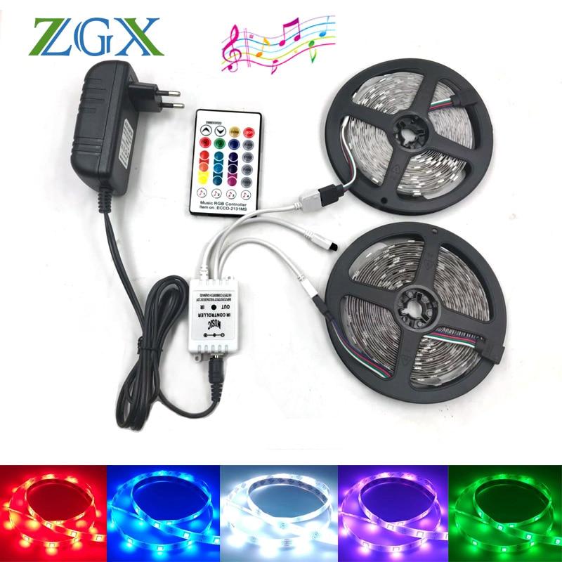 LED Music 12V Party Light Waterproof RGB Tape 5050 2M 5M 10M Flexible Strips kit