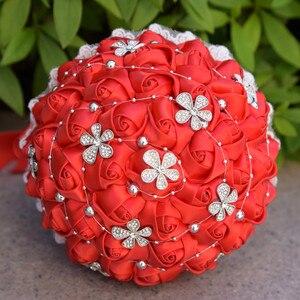 Image 5 - Винтажная свадебная брошь Kyunovia, 14 цветов, атласные розы, кружевные букеты с серебристыми бусинами, FE63