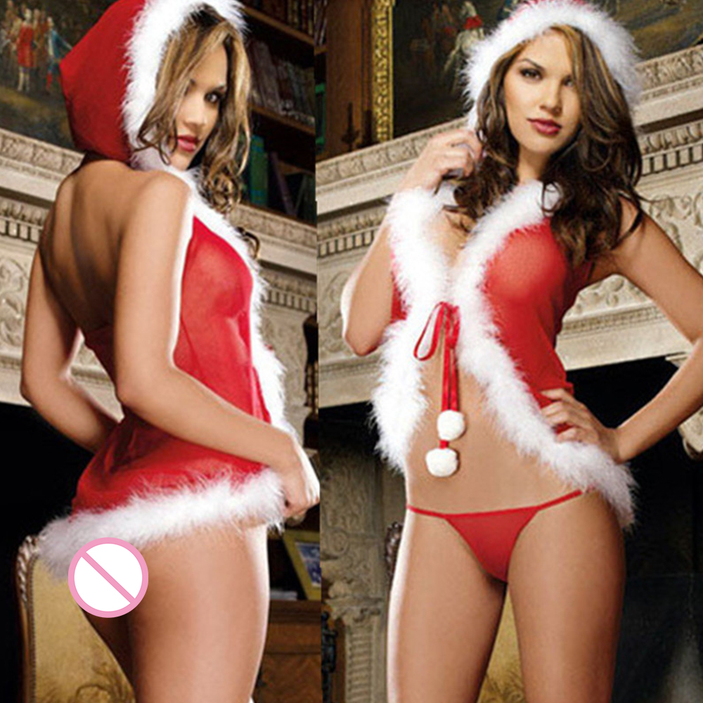 Women Christmas Costumes Lenceria Babydoll Sexy Erotic Lingerie Underwear With G-string Women Sexy Hot Sheer Lingerie Sleepwear