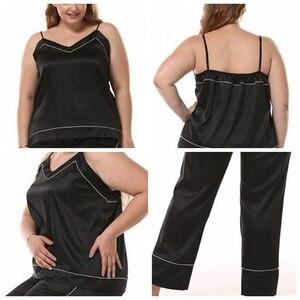 Image 3 - JULYS SONG Women Sleepwear Pajama Set Big Size Sleeveless Pyjamas Faux Silk Nightwear Sling And Pants Sleepwear Stain Homewear