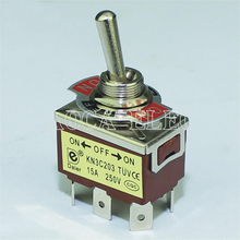 цена на 20PCS KN3C-203P ON-OFF-ON DPDT 6 Pin 3 Position Toggle Switch Medium 15A 250VAC With PC Terminal Free Shipping
