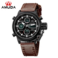 Luxury Brand AMUDA Watches Men Digital LED Quartz Outdoor Sports Watches Leather Strap Military Clock Relogio Masculino