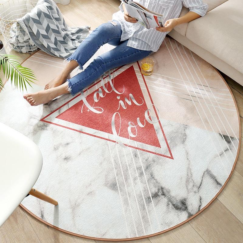 Tapis rond géométrique rose maison décorer tapis de grande taille pour salon chambre tapis salon 3d tapis salon alfombras