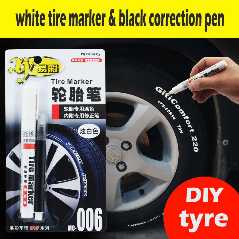 White DIY Tire Tyre Industrial marker set with black Correction pen Trim permanent Markers Paint Car Moto Toyota Honda Harley юбка brusnika brusnika br032ewdabj6