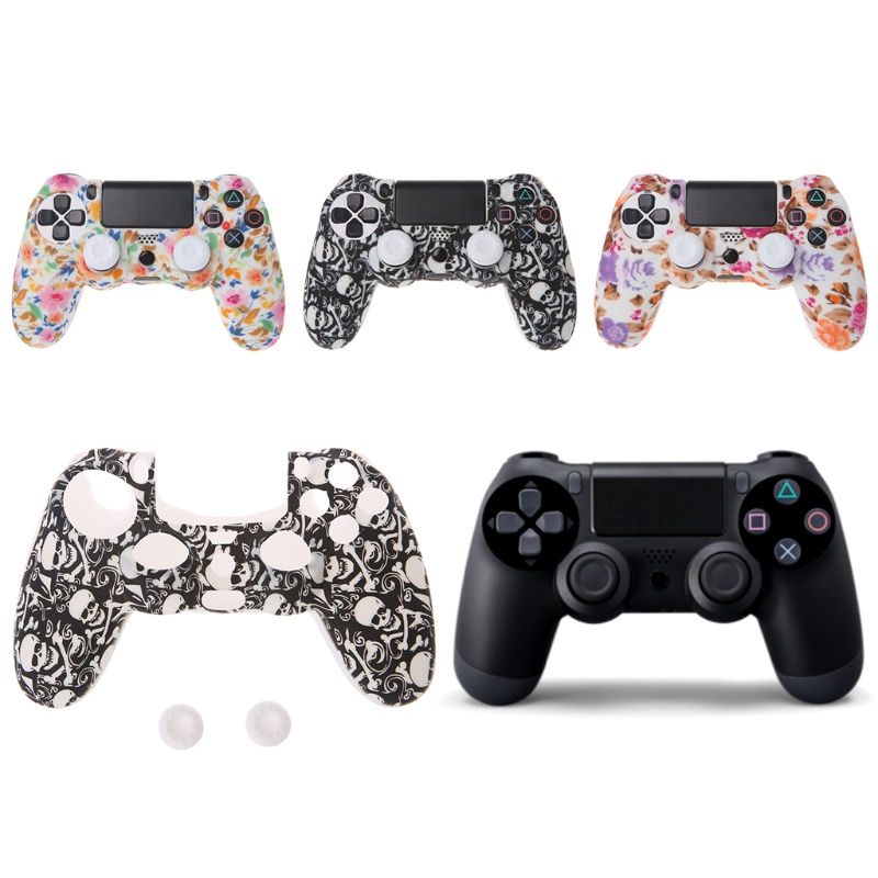 Colorful Floral Silicone Gamepad Cover Case 2 Joystick Caps For PS4 Controller