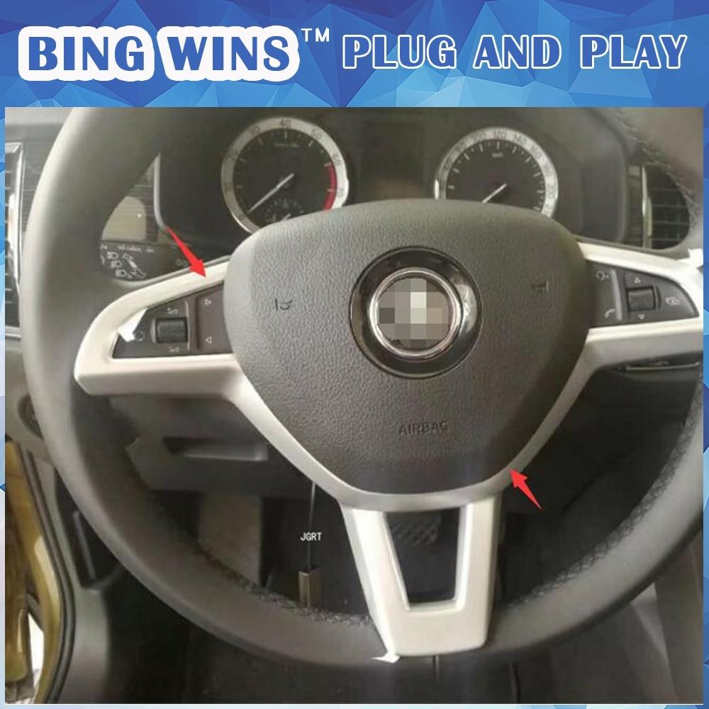 BING WINS Car styling for Skoda Kodiaq 2017 model high quality ABS or Carbon fibre Steering wheel trim decoration strip 1 pcs