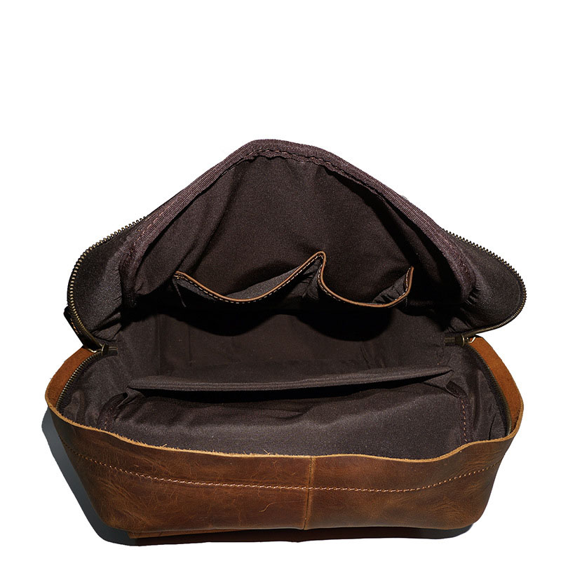 Crazy Mehrfach Tote Horse Leder Vintage Rucksack Marke Handgemachte Bolsa Designer Brown Brown Männer Echtes dark Casual Daypack qwpnqX7T