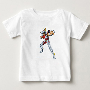Image 2 - Stijlvolle Jongen Saint Seiya Ridders Van De Zodiac T shirt Puur Katoen Retro Tshirt Kids Zomer T shirt Baby Jongens T shirt