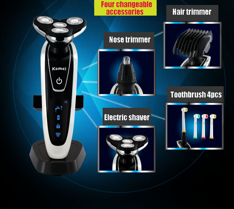 3D electric shaver 4 in 1 washable rechargeable electric razor kemei men shaving machine nose & hair trimmer toothbrush