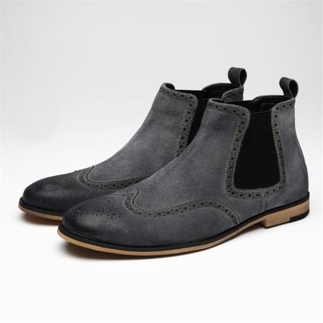 Nueva Llegada de Los Hombres de Cuero Genuino Botas de Moda Estilo de Los Hombres de Bueyes Botas cortas Cómodas de Los Hombres de Alta Superior Zapatos de la Bota Del Tobillo de Los Hombres 3 # D49