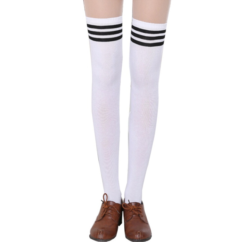 Women Striped Over The Knee Thigh High Stocking Knit Thick Long Socks Stocking