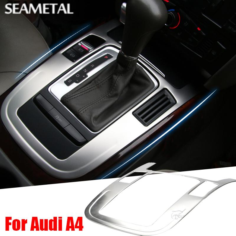 Prix pour LHD Pour Audi A4 A5 Q5 B8 Berline À Hayon Sportback 2009-2015 Voiture Chrome Styling Gear Shifter Panneau Garniture Cadre Accessoires