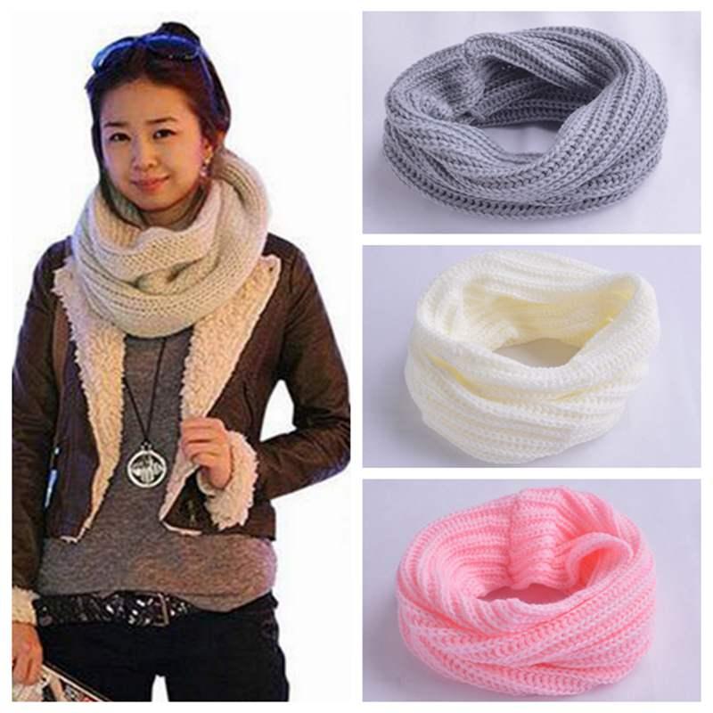 Winter Warm Scarf Women Knitting Wool Collar Neck Shawl Wraps Solid Color Warmer Crochet Female Scarves