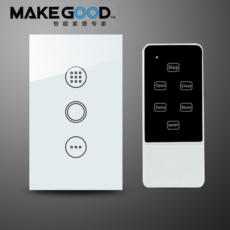 ФОТО MakeGood Wireless Remote Control Timer Switch, US Standard Glass Panel Light Switch with Blue LED Backlight, AC110-240V