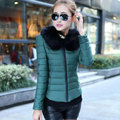 Модный бренд Меховой Воротник Пуховик Для Женщины Тонкий Теплый Парка новый 2017 Осенью И Зимой Плюс Размер 3XL Короткие Куртки Женщин Y350
