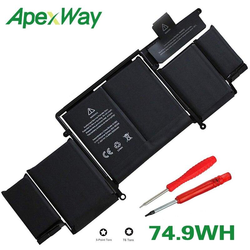 ApexWay 71.8Wh A1493 batterie d'ordinateur portable pour Apple Macbook Pro Retina13-INCH A1502 (2013 2014 Ans) ME864 ME865