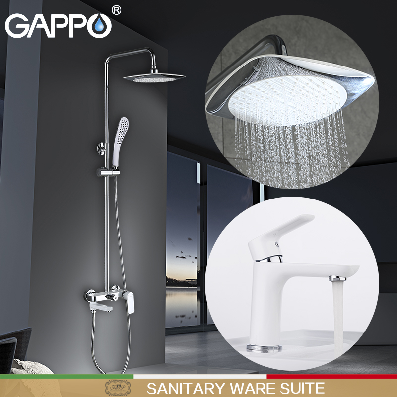 GAPPO white Basin Faucets basin sink faucet shower faucets waterfall bath tub mixer rainfall shower set Sanitary Ware Suite