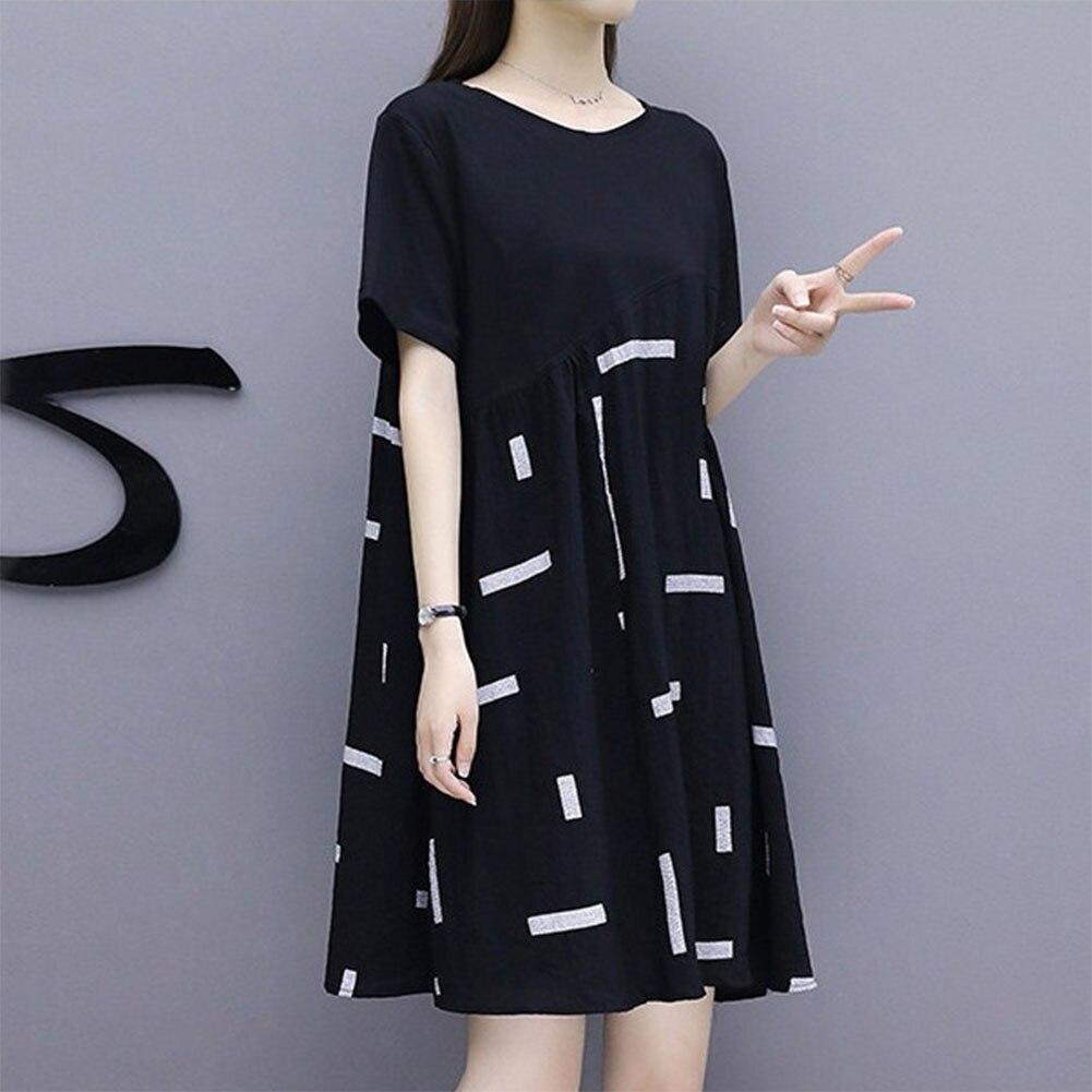 Свободное женское платье модные Вечеринка пуловер с короткими рукавами большой размер элегантный на каждый день с круглым вырезом и принто...