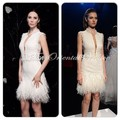 Mini Short White Ostrich Feather Cocktail Dress Sexy Plunging Neck Lace Applique Robe de Cocktail Party Dresses Vestido Curto