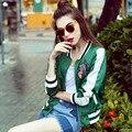 Весна Осень Кактус Мода Вышитые Куртку Женщины Зеленый Причинно Короткие Вышивка Куртка bomberjack vrouwen 1656