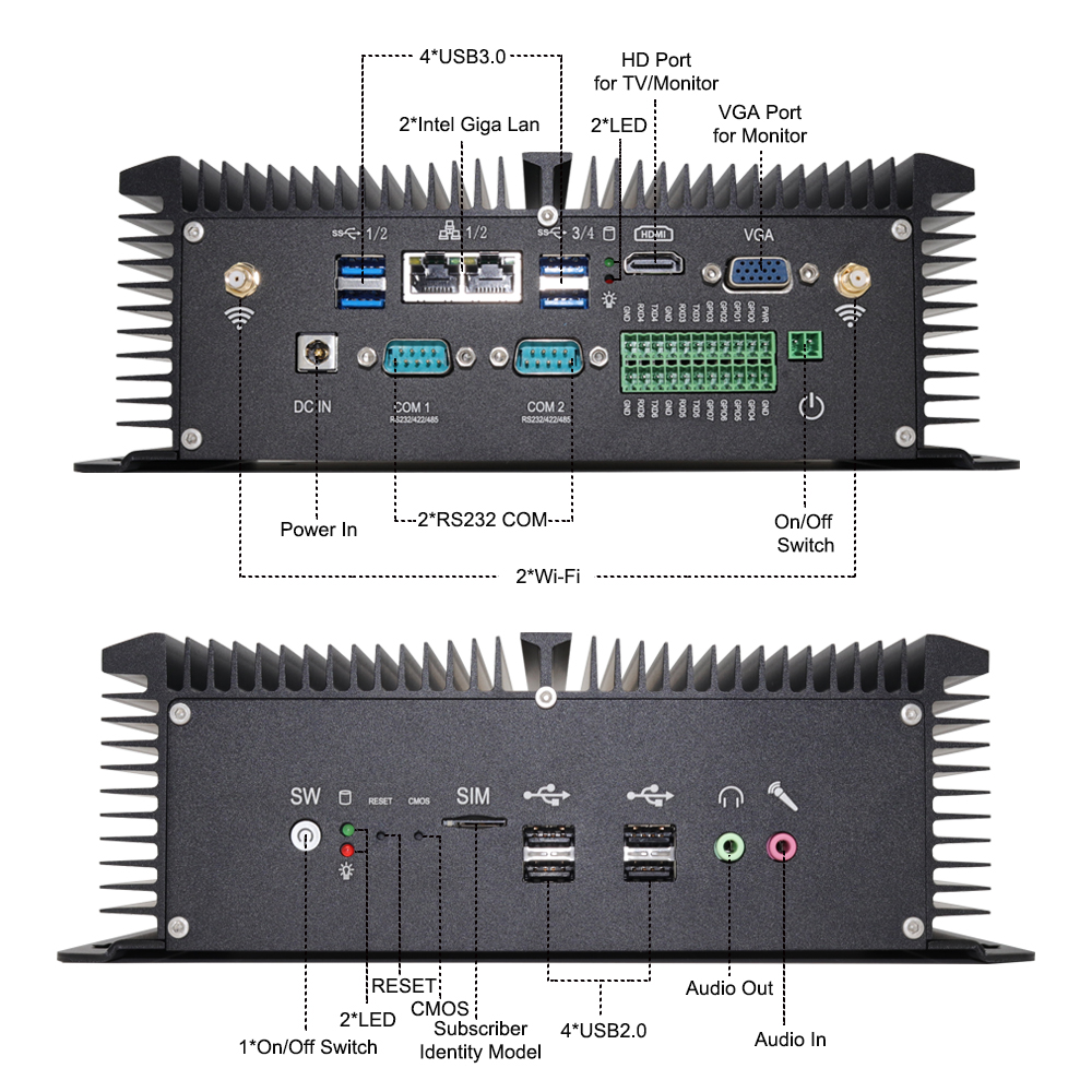 Eglobal 8th gen Industrielle Mini PC i5 8250U Quad Core 2 * DDR4 2 * COM Windows 10 Pro Linux mini Router Computer Desktop