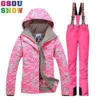 Gsou Snow Brand зима лыжный костюм Для женщин лыжная куртка + лыжные Брюки для девочек комплект напольные горный ветрозащитный Лыжный Спорт костюм
