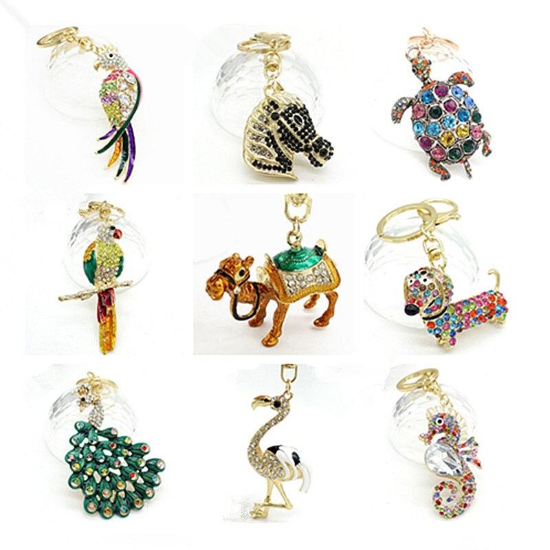Keychain Animal Keyring Purse Bag Rhinestone Crystal CZ Key Chains Charm Pendant Necklace Gift