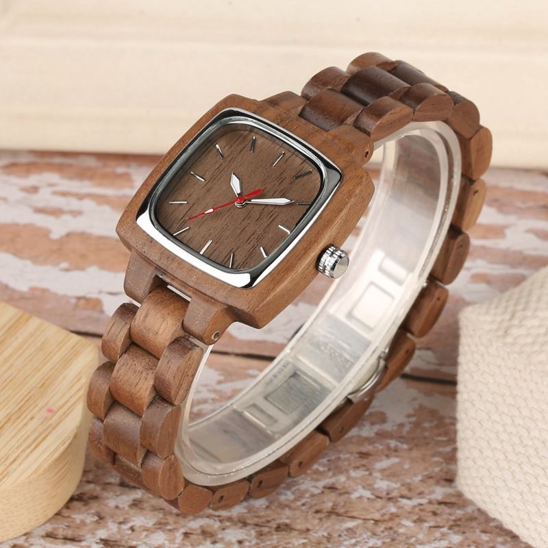 Retro Wood Women Watch Unique Square Circle Dial Design Full Wooden Bracelet Woman Ladies Clock Quartz Wristwatch dames horloges 2019 2020 2022 (3)