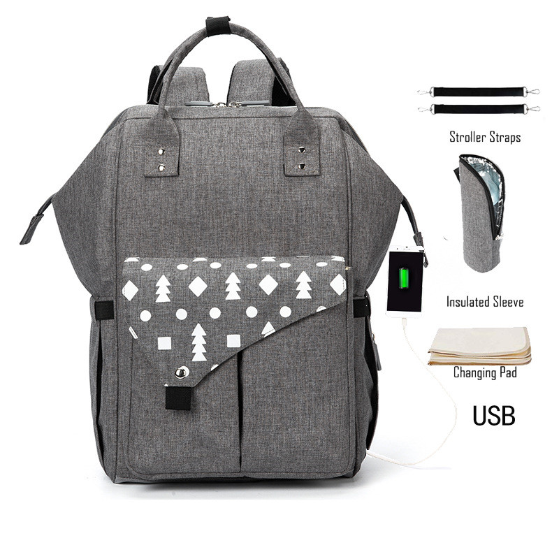 2019 Brand New Pockets Printed Shoulder Backpack Mother And Baby Solid Bag Fashion Multi-function Mummy Bag Large Capacity