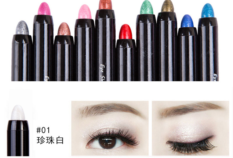 2017 New 1pc Beauty 24 Different Colors Highlighter Eyeshadow Pencil Cosmetic Glitter Eye Shadow Eyeliner Pen