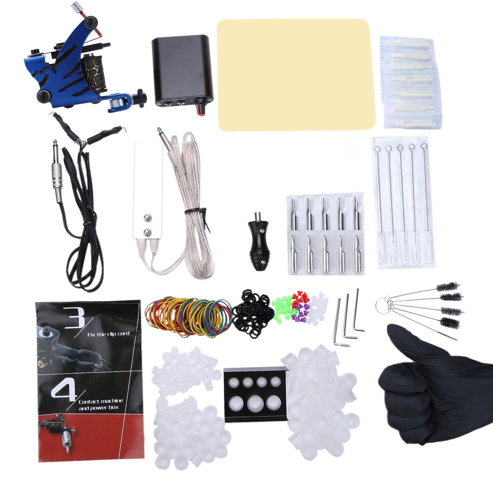 Solong Tattoo Beginner Tattoo Kit with 1 Machine Guns Power Supply 4pcs Round Tips 6pcs Flat Tips and Needles Inks Grip solong tattoo complete tattoo kit 2 pro machine guns 54 inks power supply foot pedal needles grips tips tk244